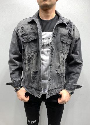 Бомбезная мужская джинсовка