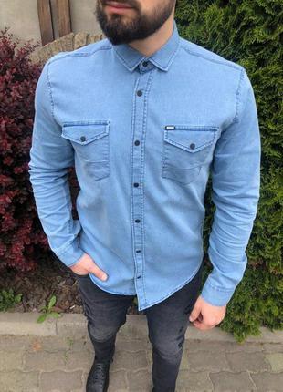 Крутая мужская джинсовая рубашка
