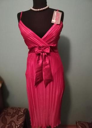 Блестящее нарядное миди-платье-плиссе от antall