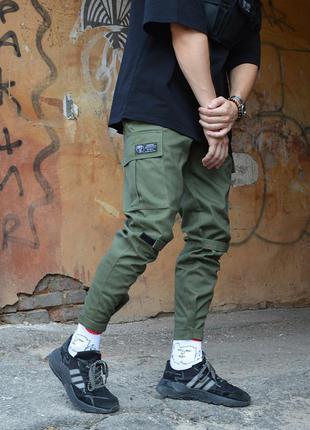 Крутые мужские брюки,  штаны в цвете хаки с карманами