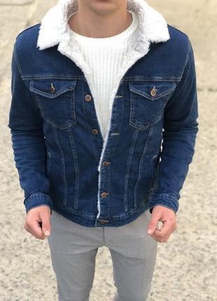 Крутая мужская утепленная джинсовка