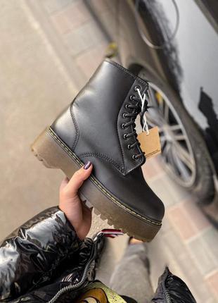 Шикарные кожаные ботинки на платформе с мехом