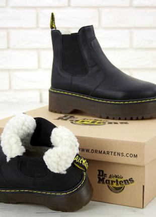Шикарные кожаные челси ботинки мартинс с мехом на платформе