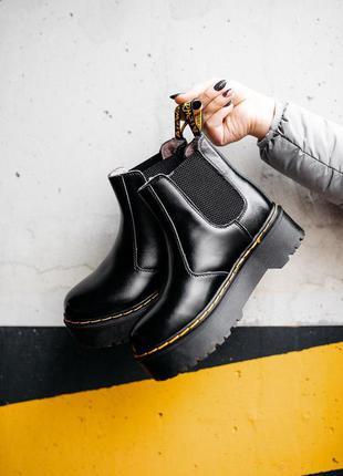 ❣️шикарные кожаные ботинки челси с мехом на платформе