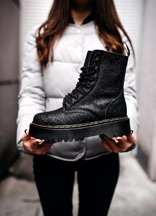Шикарные блестящие ботинки на платформе с мехом jadon glitter