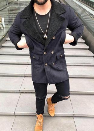 Крутое мужское пальто, дубленка
