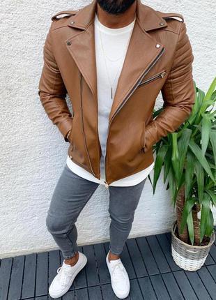 Шикарная мужская косуха кожаная куртка