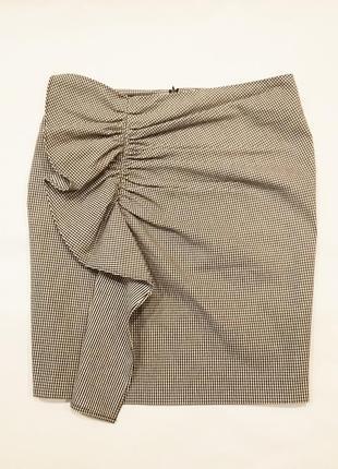 Клетчатая юбка с воланом
