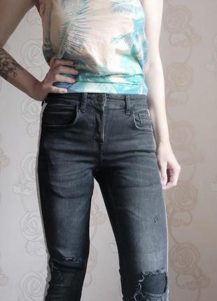Крутые женские джинсы с лампасом