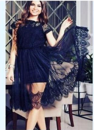 Платье чёрное с турецким кружевом