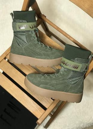 Ботинки puma x fenty scuba boot olive черевики