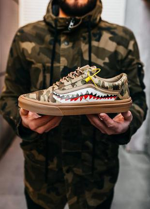 Кросівки кеди bape x vans old skool brown camo кроссовки кеды