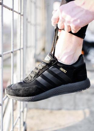 Кросівки adidas iniki runner all black кроссовки