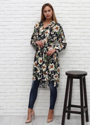 Платье-рубашка принт крупные цветы Италия