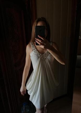 Нарядное вечернее платье сарафан со стразами