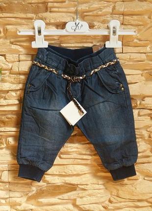 Утепленные джинсы-джоггеры/штаны zara/зара на 3-6 месяцев (раз...