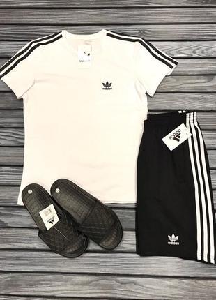 Комплект костюм adidas шорты, футболка и шлепанци спортивная ф...