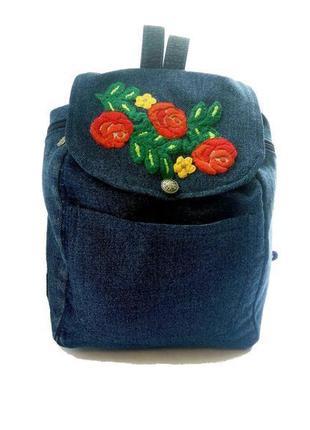 Уникальный джинсовый рюкзак с вышивкой ручная работа (hand made)