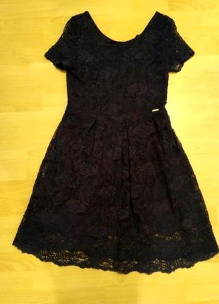 Нарядное кружевное платье вечернее темно-синее из Италии