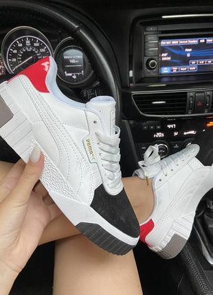 Puma cali white and black/red