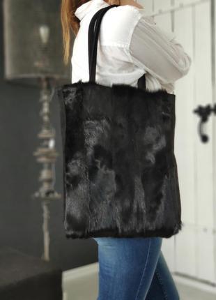 Авторская сумка-шоппер из меха и кожи