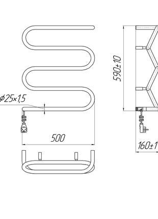 Электрический полотенцесушитель Лиана-I 600x500