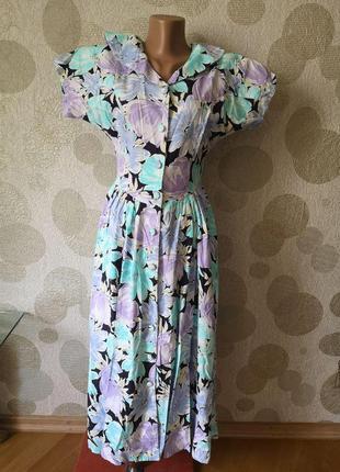 Винажное длинное платье халат  с принтом