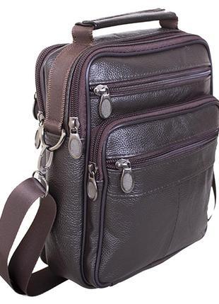 Кожаная мужская сумка барсетка из кожи через плечо коричневая ...