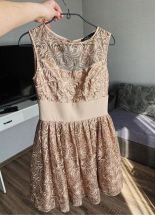Платье золотистое коктейльное Love Republic