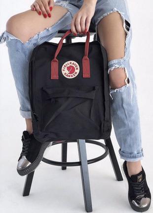 Sale рюкзак fjallraven kanken 16 л black-ox red