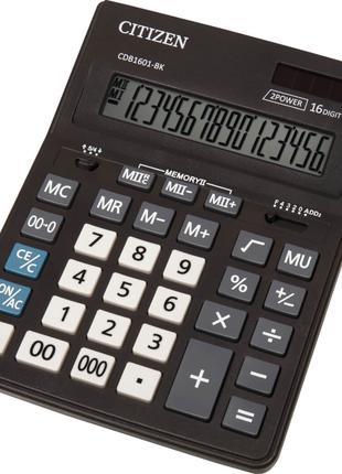 """Калькулятор НОВЫЙ 16 разрядный """"CITIZEN CDB1601-BK"""" 205-155-35 мм"""