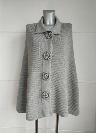 Стильный шерстяной свитер-пончо etincelle couture серого цвета...