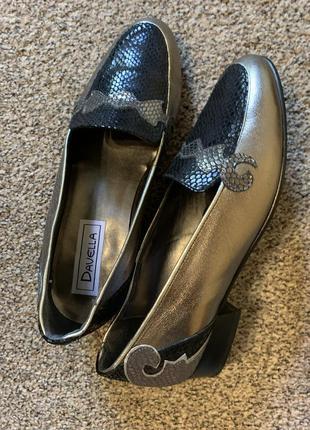 Кожаные туфли 🥿 на низком каблуке 👍🏼