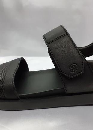 Комфортные кожаные сандалии на липучке на платформе bertoni