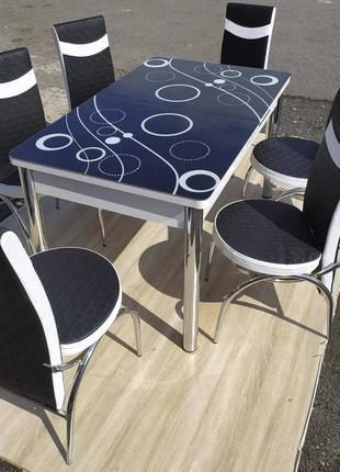 Обеденный комплект. Стеклянный раздвижной стол и стулья. Турция.