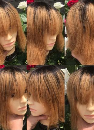 Натуральный парик Реми русый каре русский волос