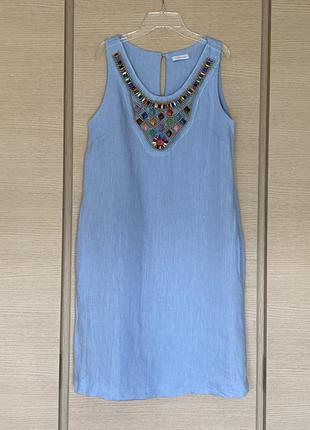 Изумительное льняное платье небесно голубой цвет италия размер м