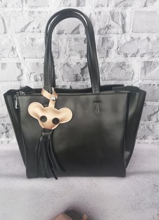 Кожаная большая женская сумка а4 шкіряна жіноча