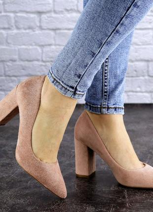 Женские бежевые туфли на каблуке, высокие замшевые