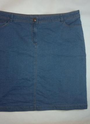 Джинсовая юбка джинс миди большой размер