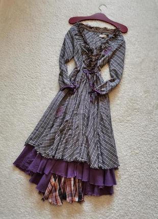 Платье бохо миди винтаж клетка платье на пуговицах стиль karen...