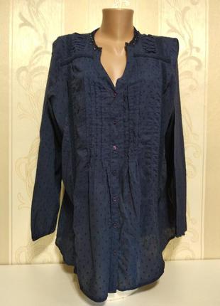 Батистовая блузка рубашка с вышивкой и бисером, большой размер...
