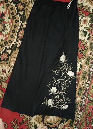 Льняная юбка с вышивкой,макси