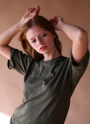 Платье - футболка цвета хаки