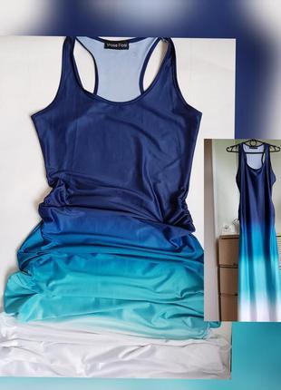 Трикотажное платье макси в пол градиент от синего к белому  ма...