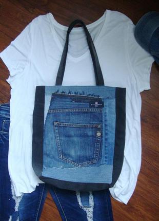 Джинсовая сумка из разного джинса