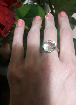 Кольцо серебро 875 ссср горный хрусталь