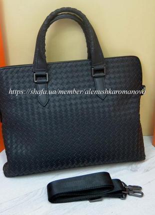 Кожаная сумка в стиле bottega veneta из натуральной кожи для д...