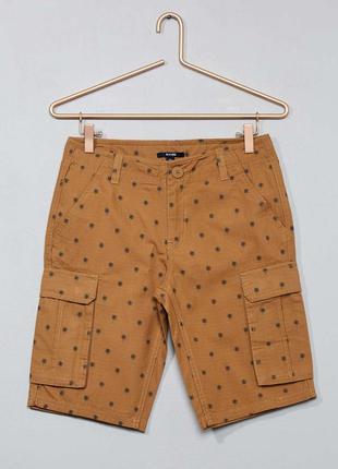 Хлопковые шорты бермуды для мальчика подростка kiabi размер s/...