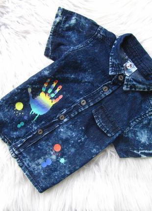 Стильная джинсовая рубашка с коротким рукавом 1234